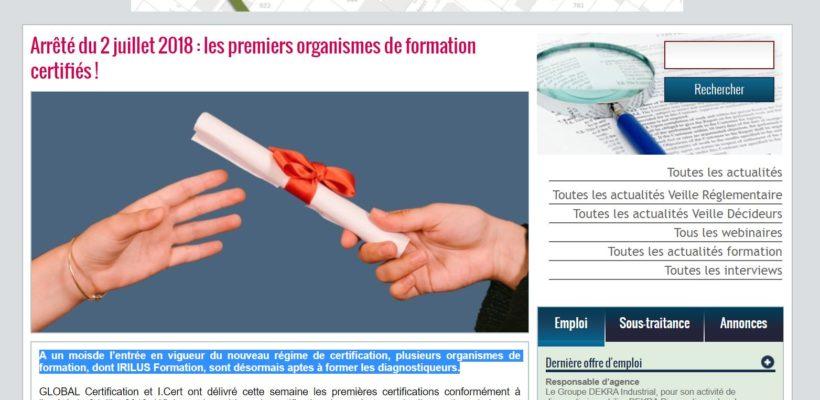 Diag Actu Irilus Formation certifié Global Certification
